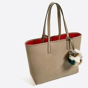 ZARA Reversible tote bag pom pouch 8496